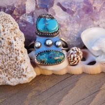 Turquoise & Shattuckite Boho Ring
