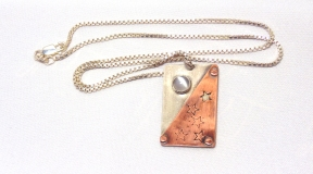 Sterling Silver & Copper Pendant with Moonstone