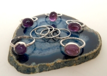 Amethyst & Sterling Stackers