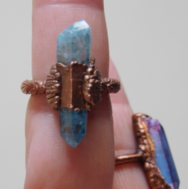 Aqua Aura Crystal Ring