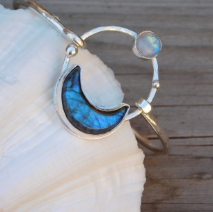 Labradorite and Moonstone Bangle