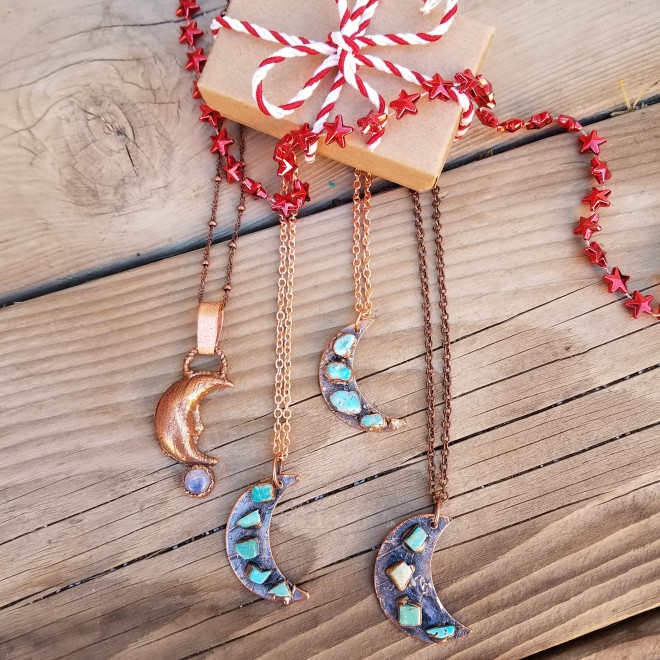 Crescent Moon Jewelry by Peacock Gypsies - Bohemian Jewelry