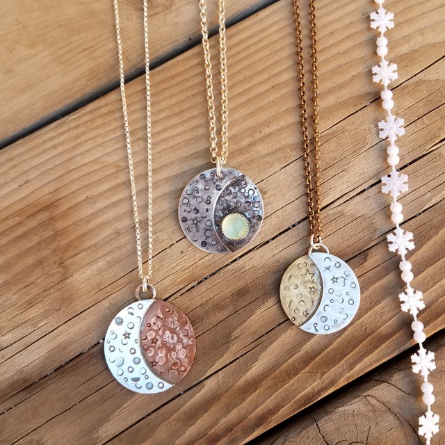 Moon Phase Necklaces by Peacock Gypsies